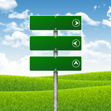 Blank green road signs. Hills, clouds in Stock Photos