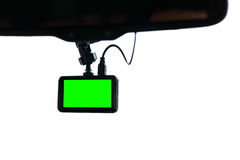 Blank green screen display monitor car video camera. On windscreen, isolated white background Stock Images