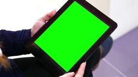 Blank Green Screen Tablet Pc Outside stock video footage