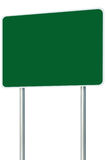 Blank Green Signboard Road Name Sign Isolated, Large Perspective Copy Space, White Frame Roadside Signpost Pole Post Name Signage Royalty Free Stock Photography