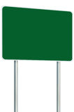 Blank Green Signboard Road Sign Isolated Large Perspective Copy Space White Frame Roadside Signpost Pole Post Traffic Signage. Blank Green Signboard Road Sign Royalty Free Stock Photos