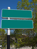 Blank green signs in a city Royalty Free Stock Image