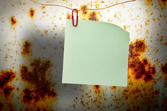 Blank green sticker and red clip Stock Image