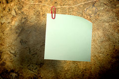 Blank green sticker and red clip Stock Images