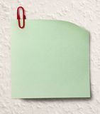 Blank green sticker and red clip Royalty Free Stock Photo