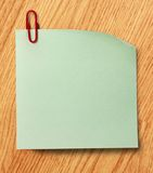 Blank green sticker and red clip Royalty Free Stock Images