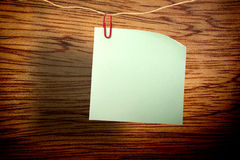 Blank green sticker and red clip Royalty Free Stock Image