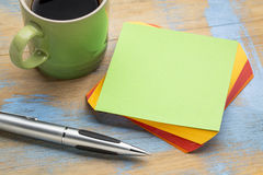 Blank green sticky note with coffee Stock Images
