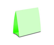Blank Green Table Tent on white. Paper vertical cards isolated  Stock Photography