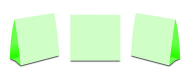 Blank Green Table Tent on white. Paper vertical cards isolated  Royalty Free Stock Photos