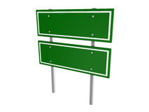Blank green traffic road sign on white Royalty Free Stock Photo
