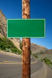 Blank green traffic sign Stock Images