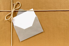 Blank greeting card, address label, paper package background, copy space Stock Photography