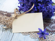Blank greeting card. In the beautiful floral arrangement Stock Image