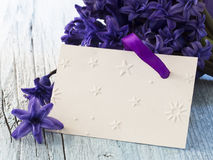 Blank greeting card. In the beautiful floral arrangement Stock Photos