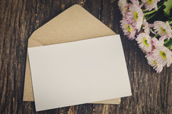 Blank greeting card with brown envelope Stock Photography
