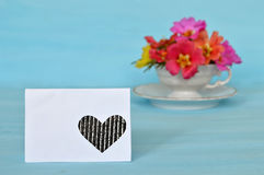 Blank greeting card and colorful flowers Stock Photos