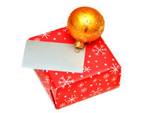 Blank greeting card or gift card on Christmas box Stock Image