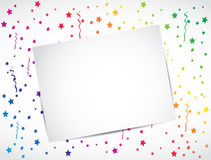 Blank greeting card, multicolor confetti concept Stock Images
