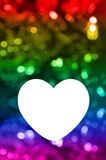 Blank of greeting card with rainbow bokeh background Royalty Free Stock Images