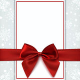 Blank greeting card with red bow and snow. Invitation, flyer or brochure template. Vector illustration Royalty Free Stock Photography