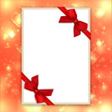 Blank greeting card red bows ribbons, Valentine background, love backdrop Stock Image