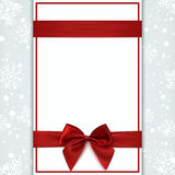 Blank greeting card with red ribbon and bow. Invitation, flyer or brochure template. Vector illustration Stock Image