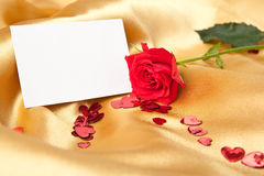 Blank greeting card and red rose Royalty Free Stock Photography