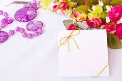Blank greeting card and rose Stock Photo