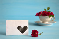 Blank greeting card and roses Stock Image