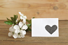 Blank greeting card and spring flowers Stock Image