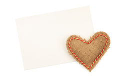 Blank greeting card and vintage handmaded valentines day toy hea Stock Photos