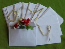 Blank greeting envelopes with flowers. royalty free stock image