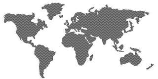Blank grey similar World Map and zigzag pattern . Royalty Free Stock Photos