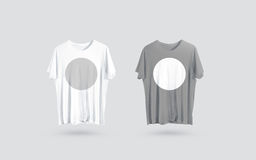 Blank grey and white t-shirt front side view, design mockup stock photos