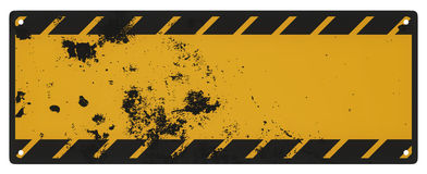 Blank grungy black and yellow caution sign isolated Stock Image