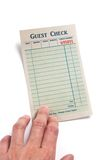 Blank Guest Check. Concept of restaurant expense Stock Image
