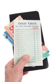 Blank Guest Check and dollar Stock Photography