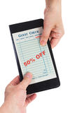 Blank Guest Check with 50% off Royalty Free Stock Photo