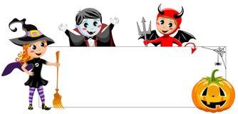 Blank Halloween Banner kids costume isolated Stock Photo