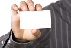 blank hand för affärskort Arkivfoton