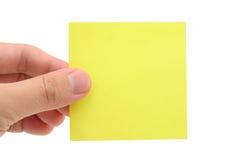 blank handholdingnotepaper Royaltyfri Bild