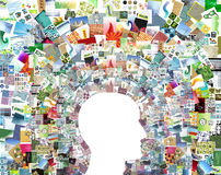 Blank head & patchwork collage royalty free stock image