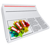 Blank Headline Newspaper Article Copy Space Your News. Blank copy space on newspaper headline for placing your news or announcement words Stock Photo