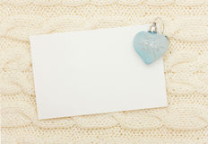 Blank and heart on knitting Royalty Free Stock Images