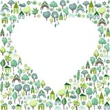 Blank heart made of trees and country houses Royalty Free Stock Images