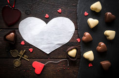 Blank heart in the middle Stock Photo
