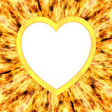 Heart shaped frame on flame background Royalty Free Stock Photos