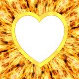 Heart shaped frame on flame background stock illustration