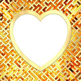 Blank heart shaped frame on maze background with flame royalty free illustration